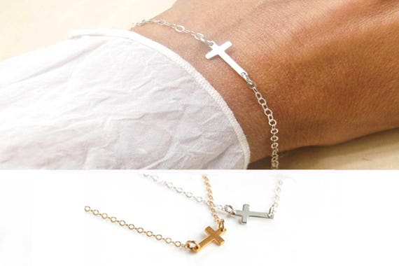 Sterling Silver Sideways Cross Bracelet, Horizontal Tiny Cross Bracelet, Tiny Cross Bracelet, Confirmation Gift, Dainty Cross Bracelet
