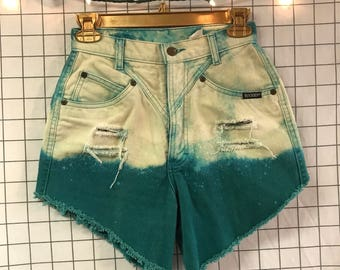 Vintage Rocky Mountain Clothing Co. Green High Waisted Bleached Green  Denim High Cut Shorts