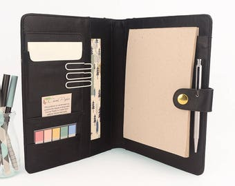 STUD- A5 Leather PadFolio / Portfolio Multiple Pockets, Snap Closure, Personalized & Cocoa Paper Note Pad. Available in different colors.