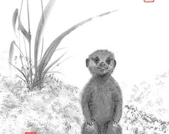 "Digital Download, ""Baby Meercat"", Japanese Art, sumi-e, Wall decor, nursery decor, suricata, home decor, gift, asian, Ink Brush, baby shower"