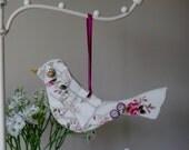 Vintage China Mosaic Bird, Hanging Ornament, valentines, mothers day gift, romantic, retro, royal Albert, English china plate, handmade,love