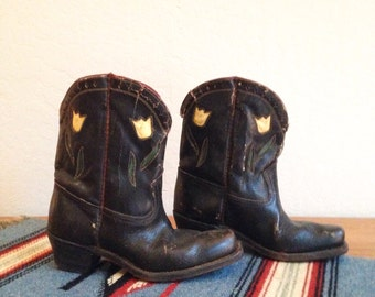 Vintage Childs/Kids Black Leather Cowboy Boots with Flower Cut Outs, Western Wear
