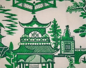 SCHUMACHER CHINOISERIE PAGODA Toile Linen Fabric 10 yards Jade Green