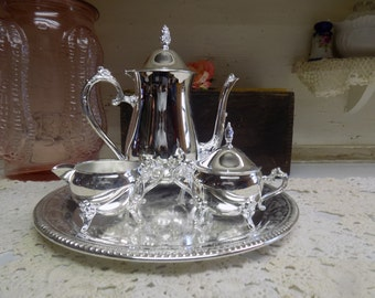 Vintage Rogers Silverplate Teapot Creamer and Lidded Sugar Bowl Set   B557
