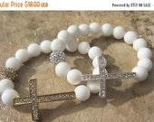 SALE Jade Cross Bracelet. Sideways Cross. Silver Cross. Side Cross Bracelet. Spiritual Jewelry. Cross Bangle.