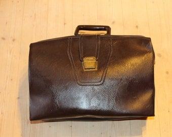 Soviet briefcase Vintage briefcase 1975 Soviet travel bag Soviet vintage travel bag Cool laptop bag Dark brown vintage suitcase