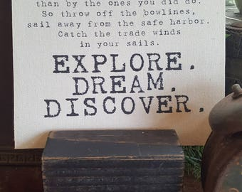 Explore, Dream, Discover 7x7 canvas / Mark Twain Quote / Inspirational Quote / Explore Quote / Motivate / Dream Quote