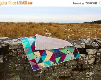 Spring Quilt Sale Modern Geometric Lap Quilt or Sofa Throw in Blue Plum Gray and Teal