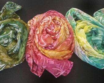 Three handpainted silk scarves for price of 2, luxury accessories for  women, Easter,Green Yellow Pink gifts for her mothers day