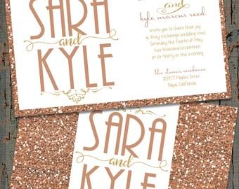 Rose Gold Wedding Invitations, Gold Wedding Invitations, Gold Glitter Wedding Invitations, Rose Gold Glitter Wedding Invitations