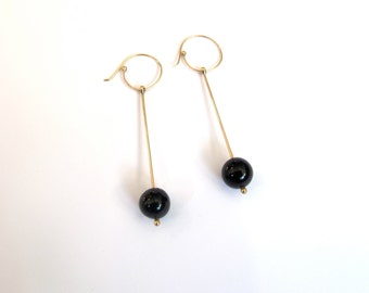 gold handmade dangle modern earring onyx