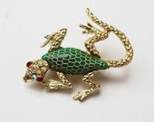 Lizard Brooch gold tine with texture green enamel  red rhinestones eyes reptile figurine Pin