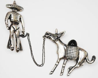 Sterling Mexico Chatelaine Pin - Silver  Man pulling  Donkey - Double Brooch -  Signed Sterling  Mexico - Onyx Jasper gemstone - figurine