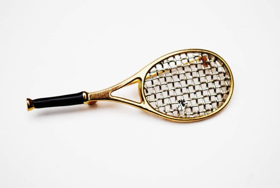Tennis Racket Brooch  -Gold black silver - Rhinestone  - Sport figurine pin