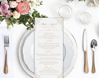 Wedding Menu, Wedding Menu Card, Gold Wedding Menu, Blush Menu, Blush and Gold Menus, Dinner Menu