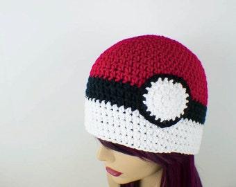 Pokemon Inspired Crochet Pokeball Hat