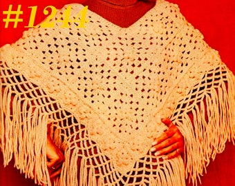 A Best Vintage 1970s Mod Motif Fringed Poncho #1244 PDF Digital Crochet Pattern
