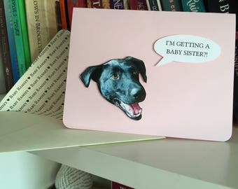 Floating Pet Head Conversation Greeting Card - Customizable for any occasion!
