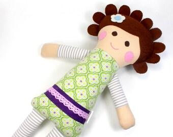 soft jersey doll | Cleo snuggle doll | grey jersey cloth doll | girl rag doll | handmade doll | girl fabric doll