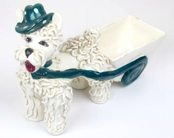 Vintage 50s Spaghetti Poodle Planter with Cart - Made in Italy - Signed and Numbered