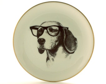 "Altered Vintage Plate Beagle Dog Porcelain Glasses Nerd 7.67"" Anthropomorphic Surrealism Gold Rim Geekery Present  Whimsical Graduation Gift"