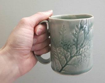 Green Cedar pattern mug - hand built pottery