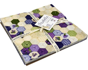 """ARABELLA - Layer Cake  - 42 - 10"""" Squares - by Debbie Beaves for Maywood Studios - Purples - Greens - Natural- Tans"""