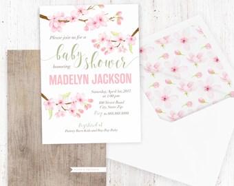 Cherry Blossom Baby Shower Invitation, Watercolor Floral Baby Shower, Spring Baby Shower Invite, Baby Girl Shower Invite, Lined Envelope