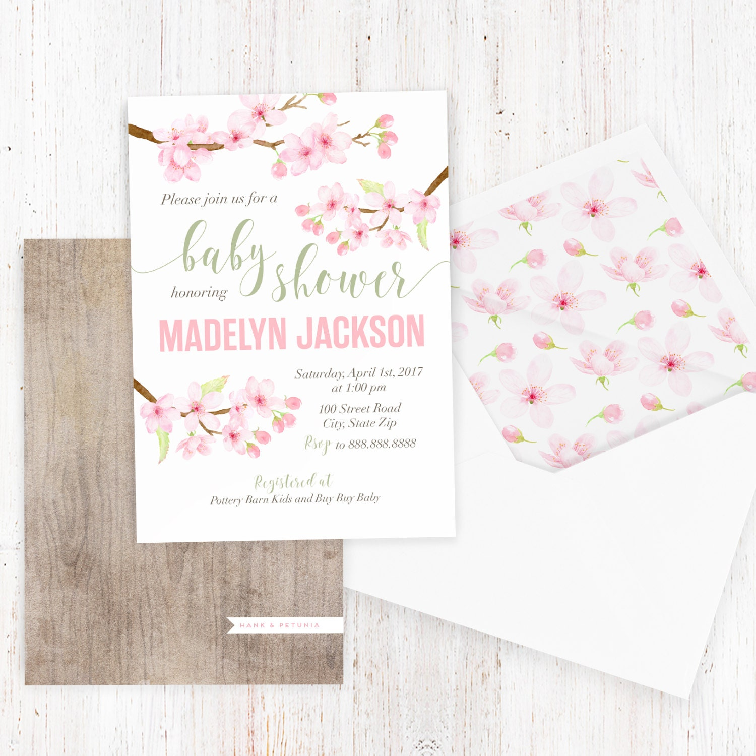 Cherry Blossom Baby Shower Invitation, Watercolor Floral Baby ...