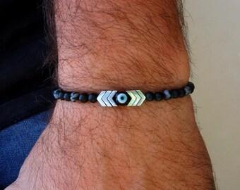 Evil Eye Bracelet - Mens Bracelet - Arrow Bracelet - Silver Bracelet - Black Bracelet - Beaded Hematite Cord Bracelet - Boho Gift For Him