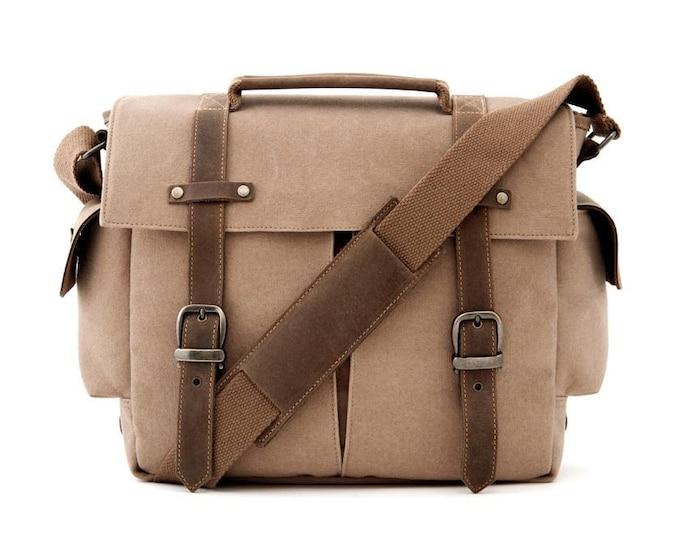 Camera Bag / Messenger Bag / Shoulder Bag / Tan Canvas / TRAIL