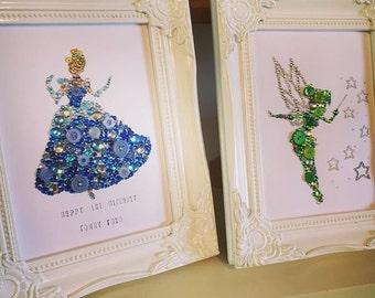 Disney Cinderella decoration Wall Art Baby Shower Gift Baby Girls Button Frame Princess Gift Nursery Decoration Disney Princesses Swarovski