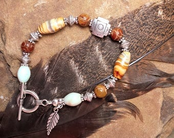 Southwest Style,Carved Soapstone, Stone & Lampwork Beads, Feather Charm, Bali Silver Toggle 7 Inch Bracelet