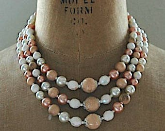 """Vintage Multi Strand Bead Necklace - Simply Neutral"""""""