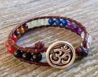 ON SALE om 7 chakra leather wrap bracelet custom stones quartz amethyst lapis aventurine black tourmaline elephant unisex men and women