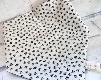 Paw Print Fabric Bandana, Cat neckerchief, Dog neckerchief, Dog bandana collar, Cat Bandana, Bandanas for dogs, Dog clothing