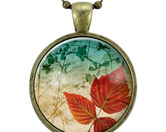 Autumn Leaf Necklace, Fall Leaves Forest Jewelry (1127B25MMBC)