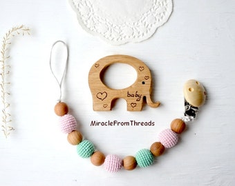 Dummy clip,wooden teether,Pacifier chain with teething toy,Wood elephant teether,Pacifier chain,Beaded pacifier clip,holder with toy