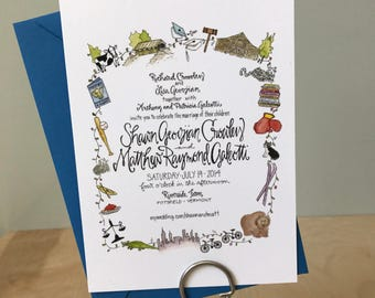 Custom Illustrated Wedding Invitation / Location Themed Wedding Invitation / Watercolor Wedding Invitation