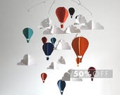 SALE - Blue, Orange, Teal, and Red Hot Air Balloon Baby Mobile