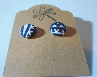 Blue and White Aztec Button Earrings