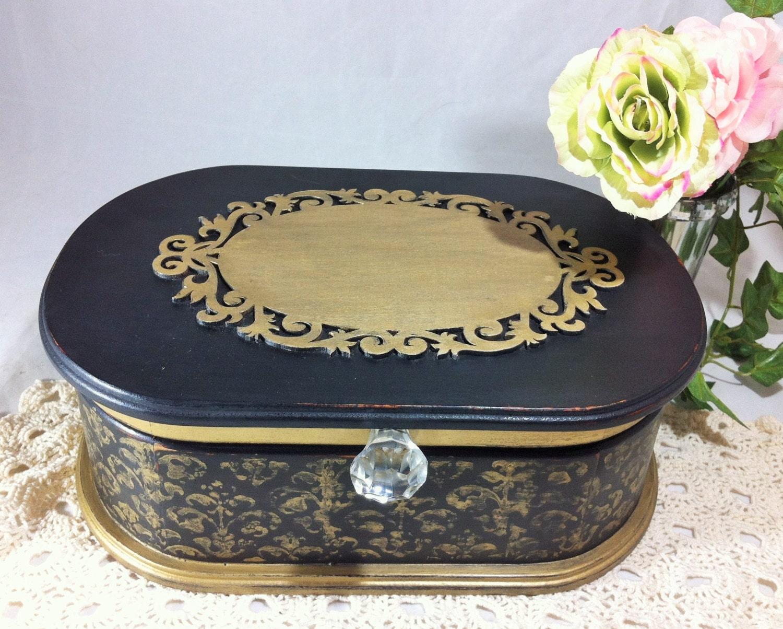 Large Black Jewelry Box Gold Damask Jewelry Organizer Womens