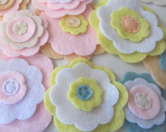 Felt Flowers, Bulk Flowers, Pastel Flowers, Handmade Flowers, Fabric Flowers, Decoration Flowers