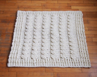 Crochet PATTERN chunky braided blanket, cable bulky afghan, cozy throw, home decor, baby shower gift, nirsery, DIY PDF instant download