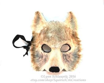 Faux Fur Wolf Mask,  Timber wolf style, Animal Mask, Wolf Costume, Fursona,  Fur costume, Furry, Cosplay