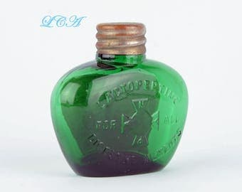Colorful little TEAL GREEN quack medicine - pill bottle LACTOPETINE tablets 1800s - tiny oval pocket flask