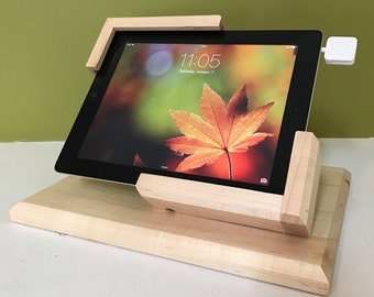 Side Winder Tilting iPad Stand for Square POS / White Maple