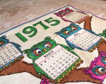 1975 sequined calendar, beaded calendar, 1970s calendar with sequins and beads, felt calendar, owls, owl decor, 1970s decor, 1975 calendar