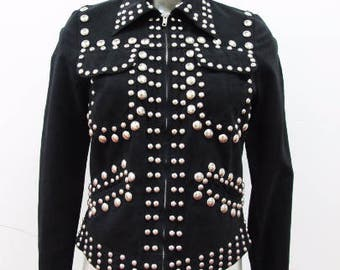 1970s Suede Studded Glam Rock Heavy Metal Suit Junkshop Glam
