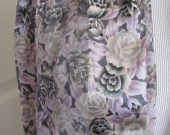 """Scarf Ladies Gray Floral Fashion Scarf 13"""" x 60"""" Long - Affordable Scarves!!!"""